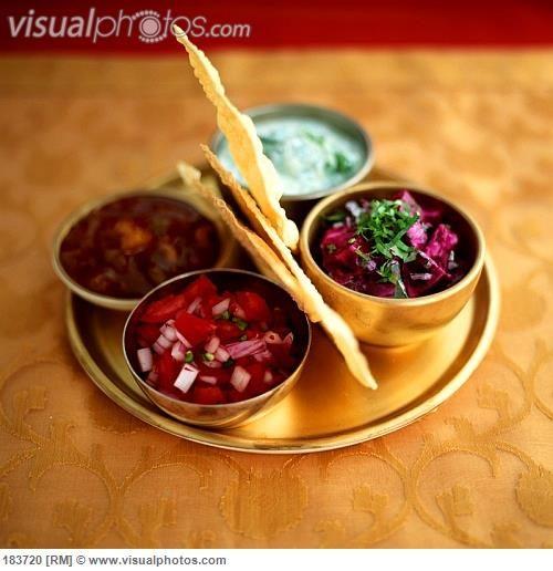Papadum Dipping Sauce | Poppadom with various salads and sauces
