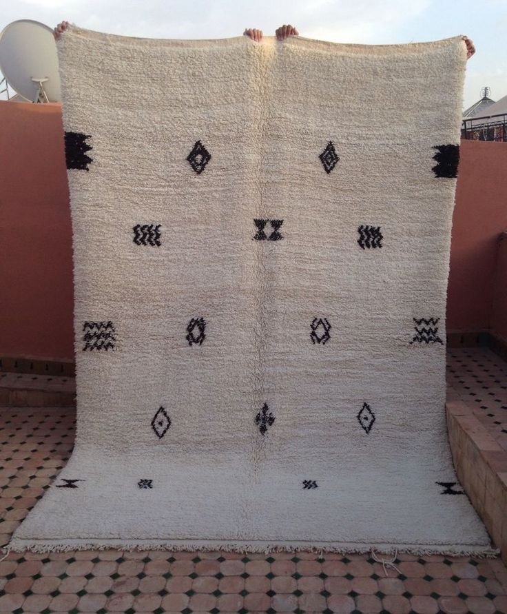 "Beni Ourain Rug 9 Ft 5"" x 5 Ft 9"" Moroccan Handmade Original Wool Carpet in Home, Furniture & DIY, Rugs & Carpets, Rugs | eBay"