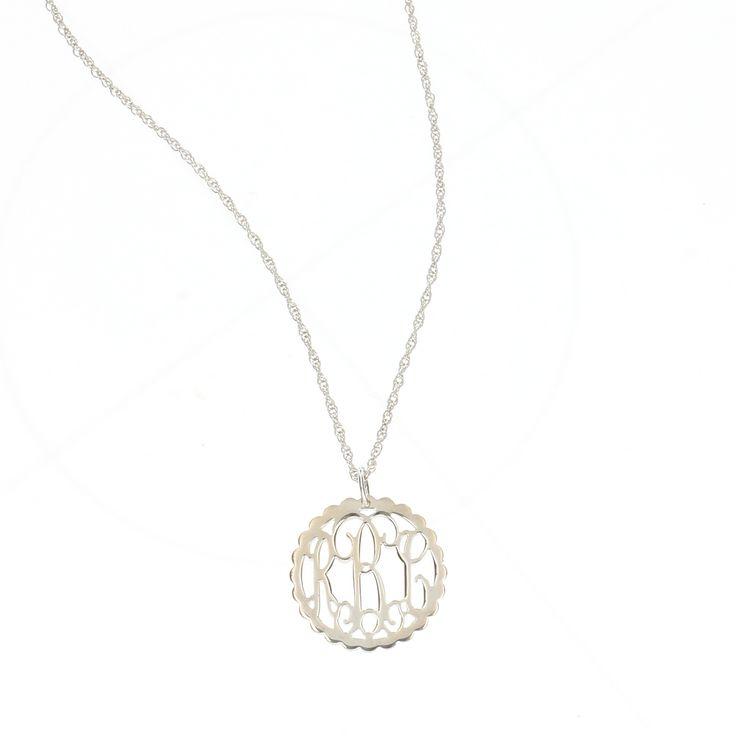Monogram Filigree Necklace Small Sterling Silver Scallop