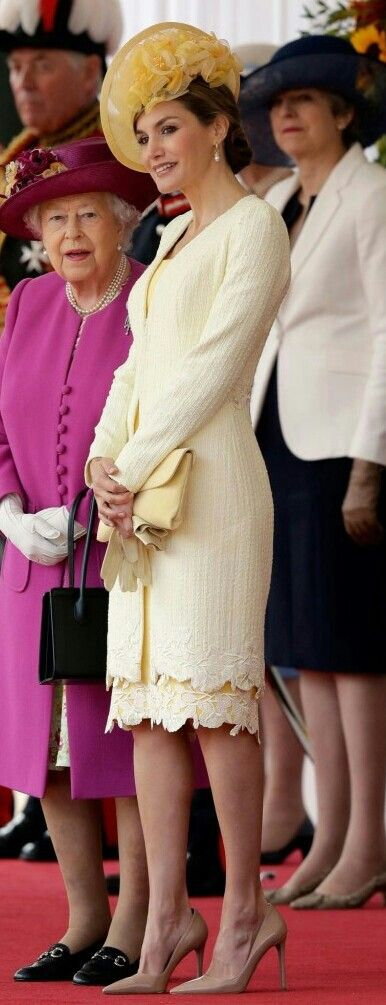 Queen Letizia - lemon hued dress with guipure lace hem - lighter shade summer tweed coat by Felipe Varela - chapeau by María Nieto - Prada pumps