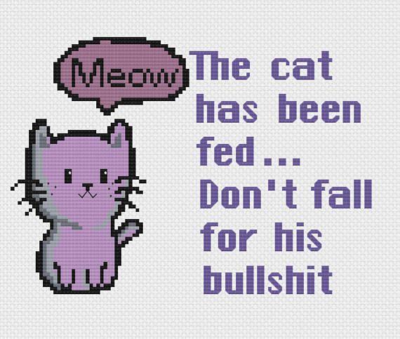 Bullshit Cat Cross stitch pattern