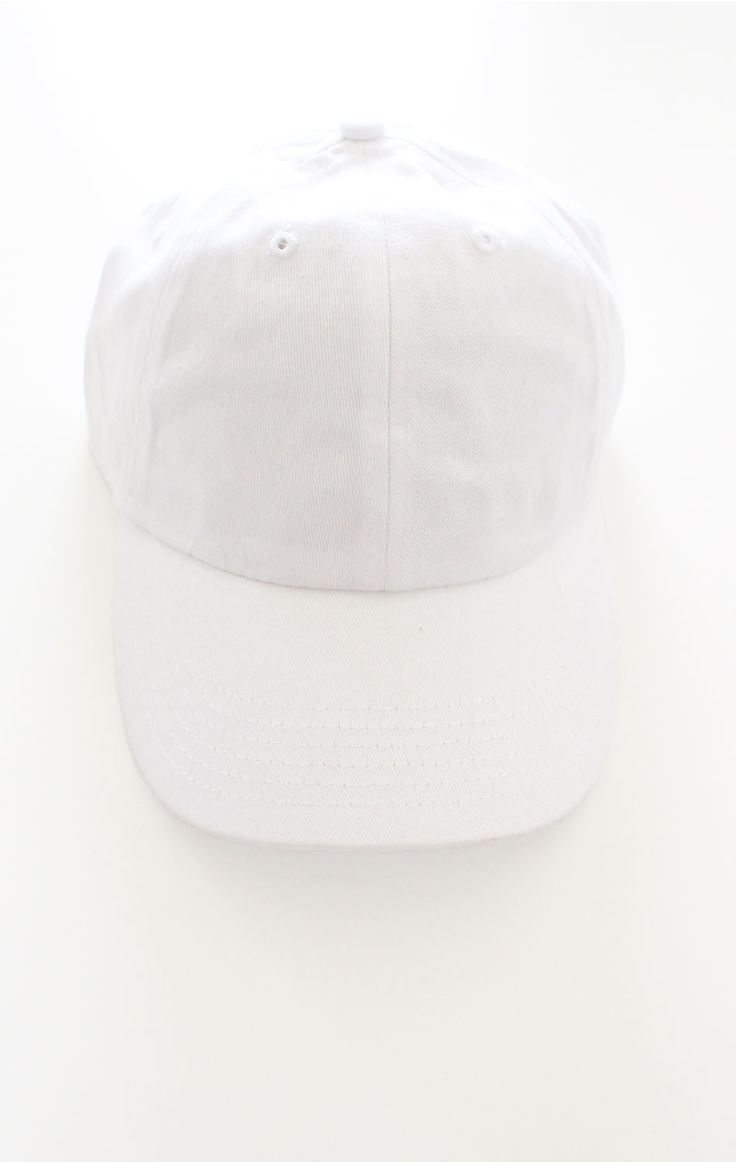 - Description Details: Plain six panel baseball cap in white with adjustable back with tri-glide buckle. 100% Chino Twill. Imported Sizing: Adjustable, 2 1/4 x 4 1/2 Care: Machine wash cold