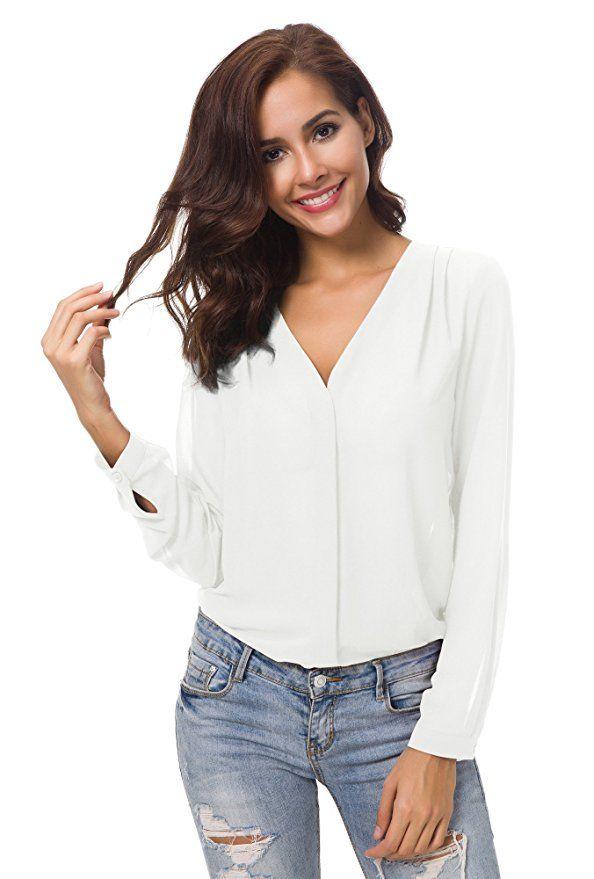 Urban CoCo Womens V Neck Ruffled Shoulder Solid Chiffon Blouse (Medium,  White)  womensfashion  casual  casualstyle  streetstyle  fashiontrends   fashion ... feacb12b0f