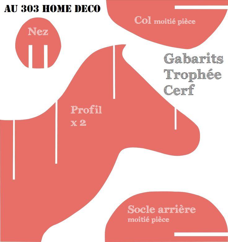 """Tutoriel et gabarits à imprimer : Trophée de cerf. Planches à charger sur le blog """"AU 303"""""""
