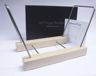 PhonoFlip 12″ Record Rack - massief beuken en roestvrij staal met geschenkdoos. Vinyl LP opslag houder Display. Unieke Gift voor hem of haar