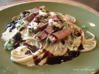 Steak & Garlic Parmesan Linguini - amazingly easy and a million times healthier than regular Alfredo. Used strip steak and 1.5 cups of cheese .. Will definitely make again!