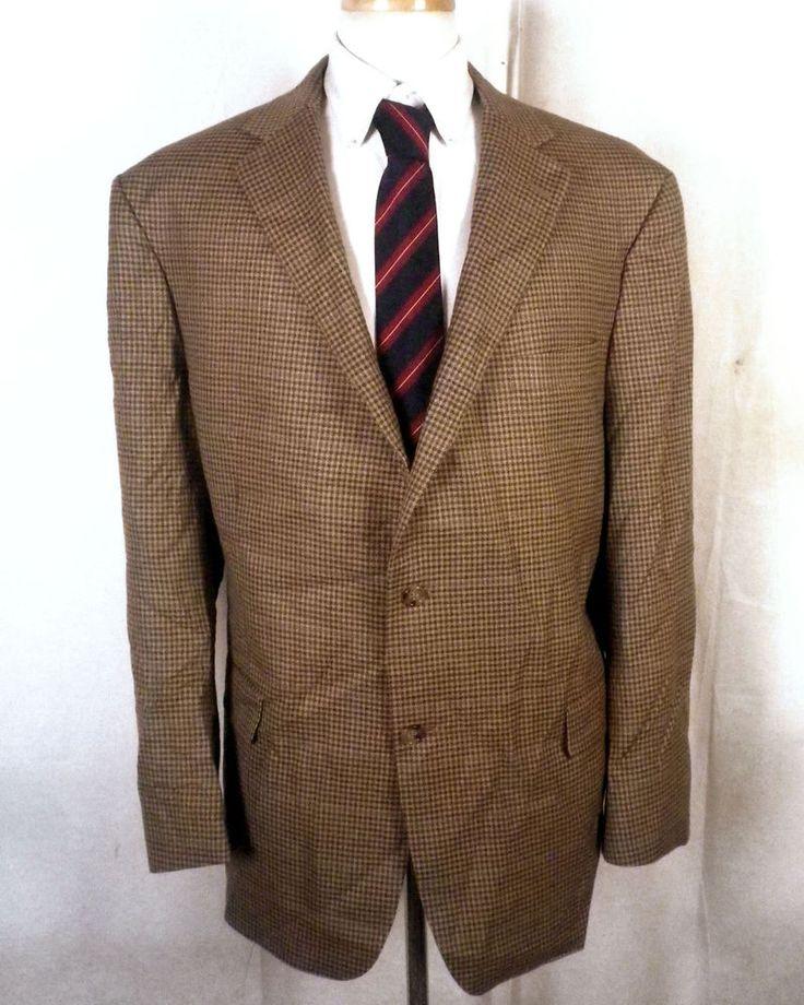 euc Recent Hart Schaffner Marx HSM brown check 100% Wool Blazer Sportcoat 48 R #HartSchaffnerMarx #TwoButton