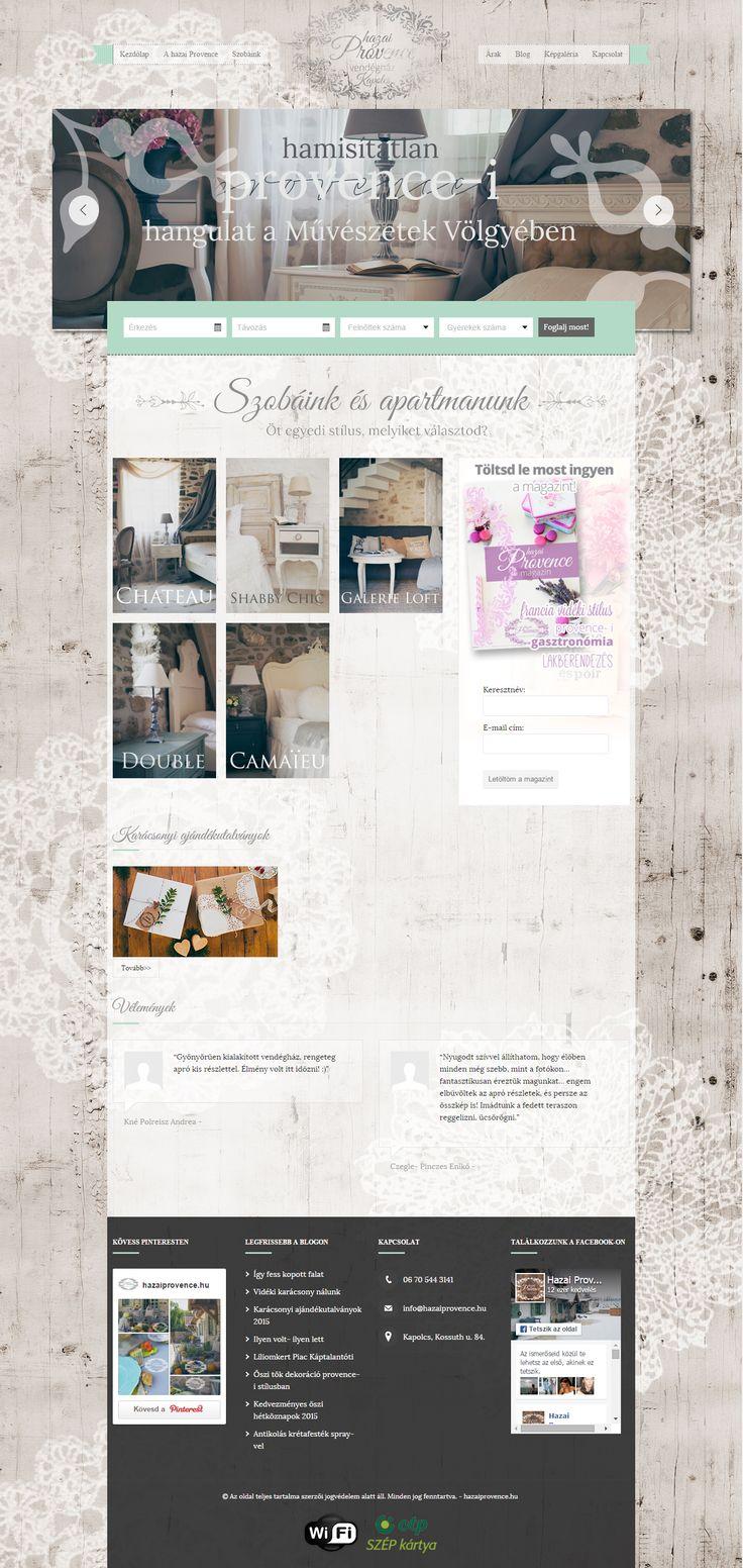 A Hazai Provence Vendégház weboldal (re)design, logó, arculat, fotók, kompletten. http://hazaiprovence.hu/