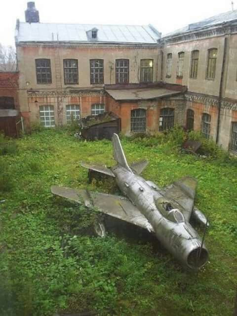 MiG-19. Interesting place to park a plane!..?