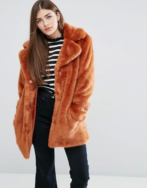 Vintage inspired faux fur coat