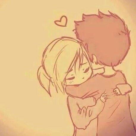 cute chibi couple hugging