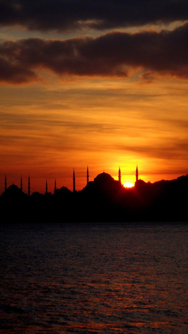 Sunset over historical peninsula in Istanbul, Turkey