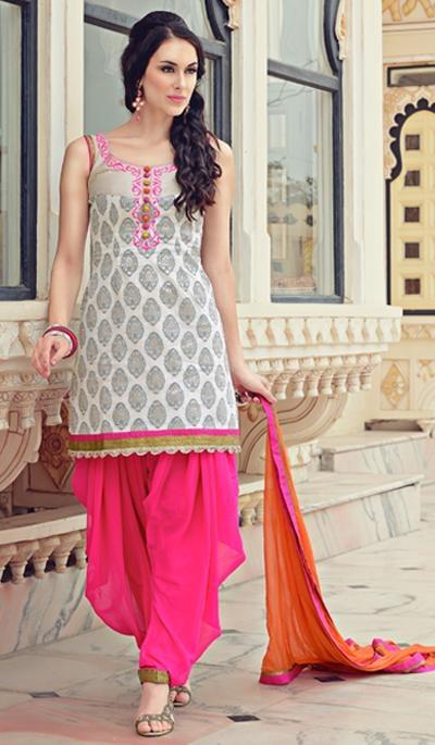 G3 Fashions Silver Cotton Wedding Wear Designer Salwar Suit  Product Code : G3-LSA104306 Price : INR RS 5360