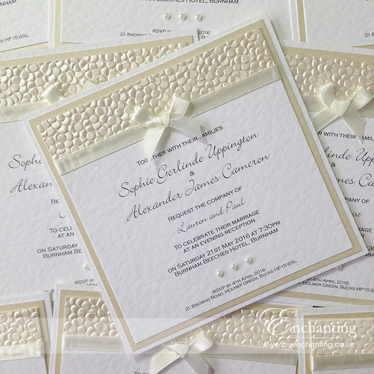 "The Belle Collection - Luxury Flat (postcard) Invitation | Featuring ""Bridal White"" (ivory) ribbon and ""Ivory Pebble"" paper, with a little bow, topped with 3 pearls 