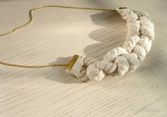 Eco friendly fashion urban bib necklace. Natural cotton rope, knots, gold colored end caps, vintage cotton lace. Ready to ship.