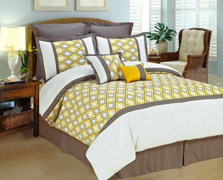 New Luxurious Modern Comforter set w/ Euro Shams Yellow, Gray, White-Queen King | eBay