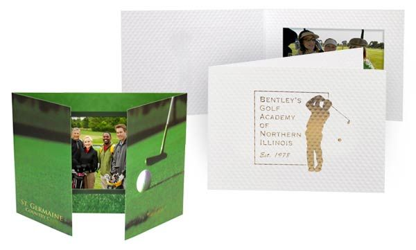 Golf Event Giveaways: Order Personalized Golf-themed Photo Folders from On The Ball Promotions! A great photo keepsake to send home with golfers at your golf fundraiser or company golf outing. Full color printing or elegant foil stamping options available for your custom event details.