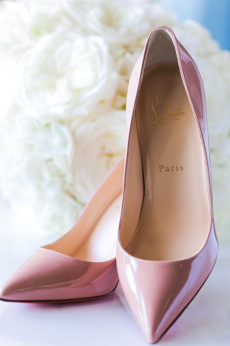 Pink Louboutin wedding heels (Scribbled Moments Photography)