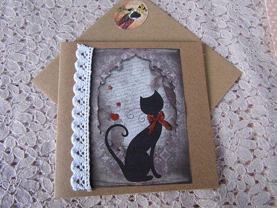 carte double motif chat noir