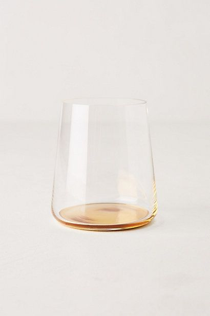 """The name says it all--love the """"drop"""" of color in the bottom.  Color-Drop Stemless Wine Glass from #anthropologie"""