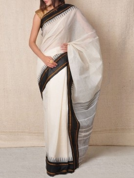 Ivory Kanchi-Cotton Saree - Tribal