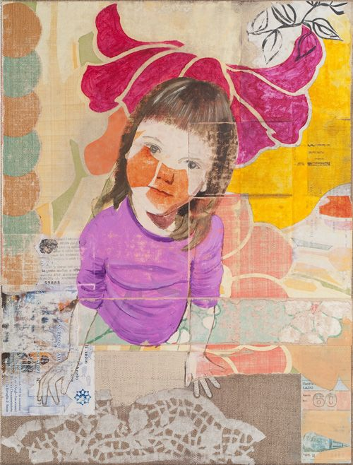 Sempre qui con te, 2012, collage and oil on canvas, 40x30 Cm