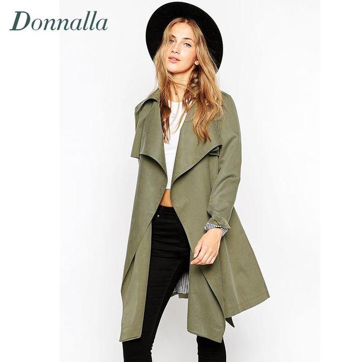 Femmes Tranchée De Mode 2016 Automne Hiver Armée Vert Long Pardessus Femmes Manteau Casual Slim long Manteaux Outwear Plus La Taille Tranchée