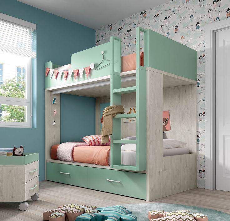 Las 25 mejores ideas sobre habitaciones con literas en - Habitaciones infantiles dobles poco espacio ...