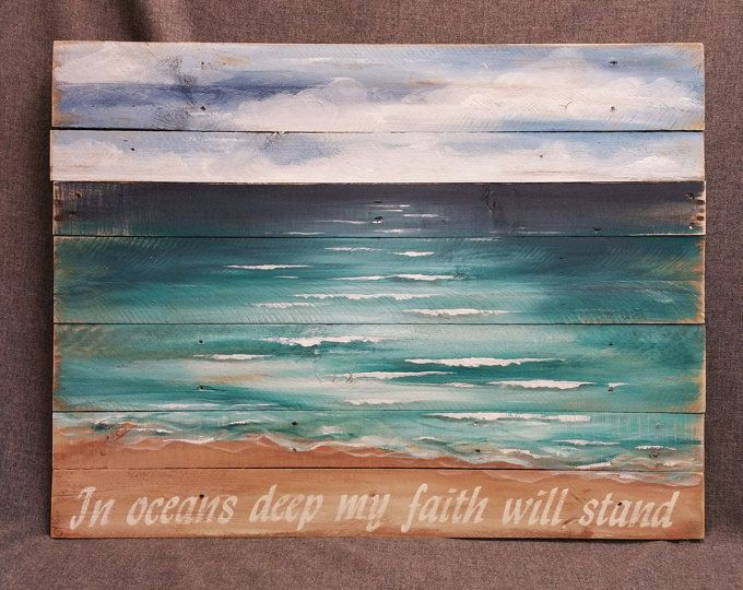 Wood Pallet beach wall Art, BEACH, Hand painted, Seascape horizon, ocean, EXTRA LARGE reclaimed, Distressed, Shabby Chic