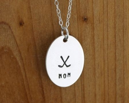Hockey mom necklace - hand stamped personalized necklace - sterling silver hockey jewelry  $29