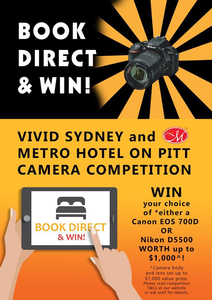 Book Direct & WIN! Vivid Sydney & Metro Hotel on Pitt Camera Competition: http://www.metrohotels.com.au/hotels/new-south-wales/metro-hotel-on-pitt/hot-deals/vivid-sydney-camera-competition-at-metro-hotel-on-pitt/