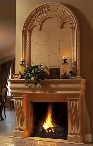 Cast Limestone Fireplace With Overmantel