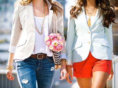 Adorable blazers make these outfits!: Lights Blazers, Fashion, Linens Blazers, Style, Clothing, Blue Blazers, Jackets, Wear, Pennies Blue