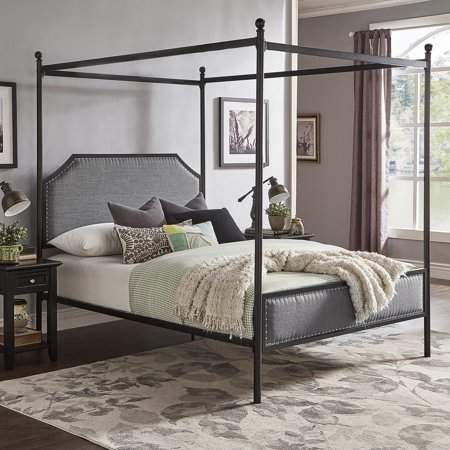 Weston Home Hazleton Black Metal Queen Canopy Bed With