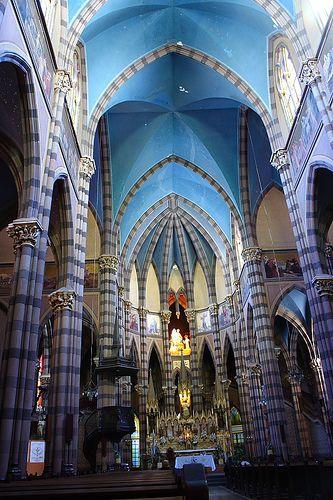The inside of the Iglesia de los Capuchinos, Cordoba, Argentina