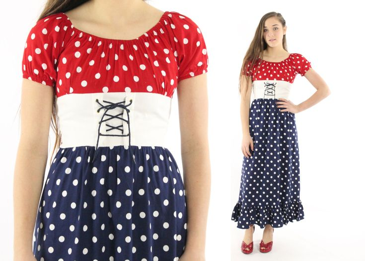 $56, Vintage 70s Polka Dot Maxi Dress Short Sleeve Sailor Nautical Corset Dress 1970s XS Small S Navy Blue Red by ScarletFury on Etsy