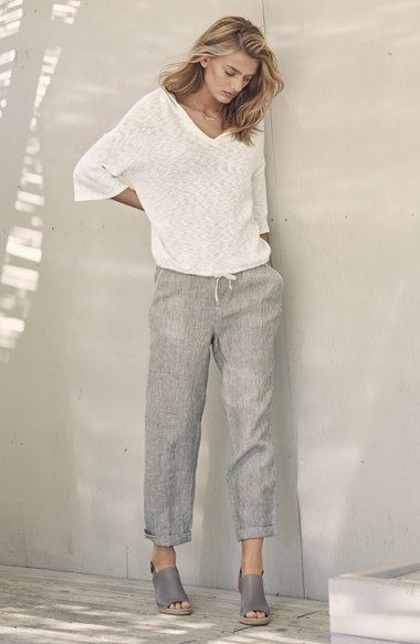 "Caslon® Linen Tie Front Crop Pants, Caslon® ""Sutton"" Leather Slingback Mule & Caslon® Textured Pullover Hoodie 