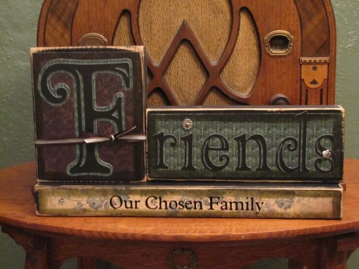 Custom Friends-Our Chosen Family Sign Word Blocks.