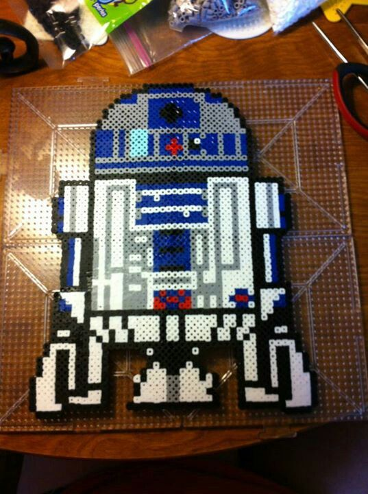 Star Wars R2D2 perler beads by Whitney Hutchison