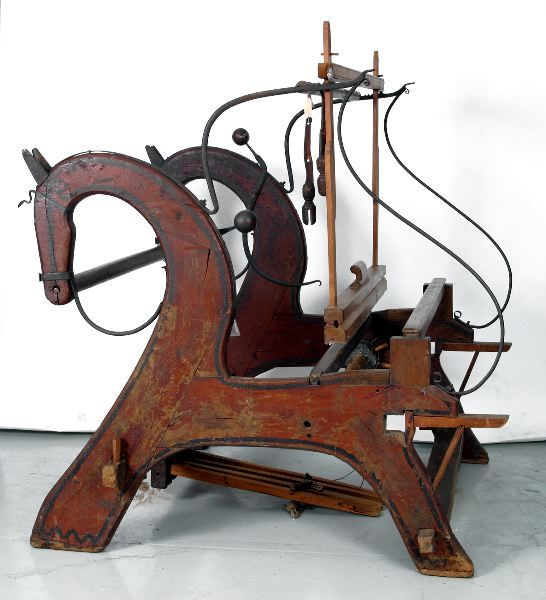 Unusual horse-shaped loom from mid 19th c, Sweden