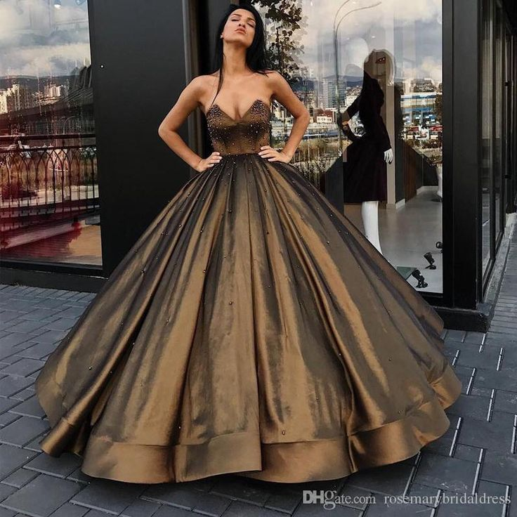 Brown Ball Gown Evening Dresses Sweetheart Floor Length Pearls Puffles Lace Up Prom Dresses Special Occasion Gowns Evening Dresses Celebrate Gowns Prom Dress Online with $163.09/Piece on Rosemarybridaldress's Store | DHgate.com