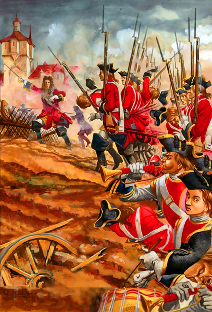 British foot guards advancing at the Battle of Blenheim, War of the Spanish Succession