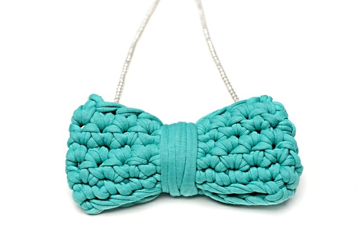 Maccheron Crochet Bow Necklace (turquoise green) - Designed and handmade with ♥ ...in Budapest ...by me :-) Like my page on FB: www.facebook.com/Maccheron