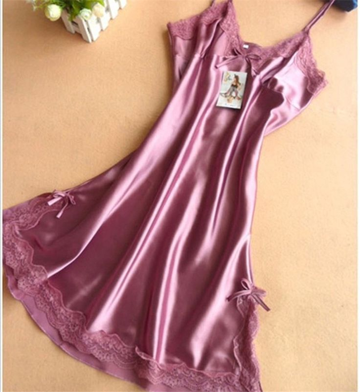 Ladies Sexy Silk Satin Night Dress Sleeveless Nighties V neck Nightgown Plus Size Nightdress Lace Sleepwear Nightwear For Women-in Nightgowns & Sleepshirts from Women's Clothing & Accessories on Aliexpress.com | Alibaba Group
