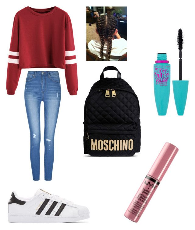 """""""Sixth grade hair, outfit, and makeup"""" by g-audrey-k on Polyvore featuring beauty, adidas Originals, Moschino, Maybelline and NYX"""