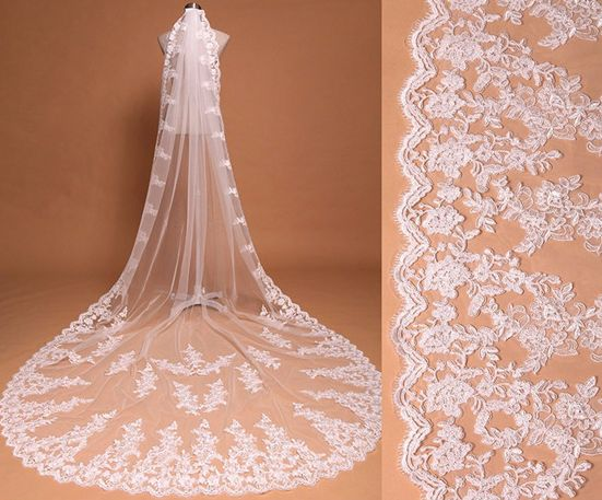 Cathedral Tulle Lace Wedding Veils Bridal Veils - Thumbnail 1