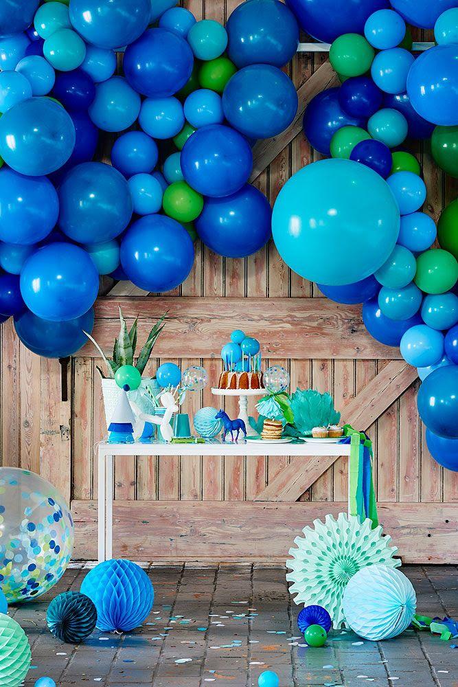 Decoración Para Fiesta De Cumpleaños Infantil Con Globos Azules Y Ver Decoraciones De Fiesta Azul Decoraciones De Fiesta Verde Decoración Con Globos Cumpleaños