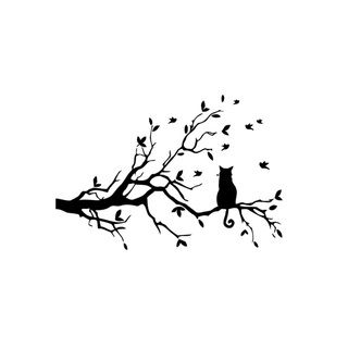 Cat Sitting on Tree Branch Vinyl Wall Art | Overstock.com Shopping - The Best Prices on Vinyl Wall Art