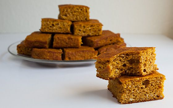 Protein Pumpkin Bars 1-2 tsp of Stevia powder 4 oz. jar baby food applesauce 2 tsp ground cinnamon 1 1/2 tsp ground ginger 1/2 tsp ground clove 1 tsp baking powder 1 tsp baking soda 1/2 tsp salt 2 tsp vanilla extract 4 large egg whites 15 oz. can of raw pumpkin 2 cups oat flour 2 scoops Optimum Nutrition Whey Vanilla  Preheat the oven to 350 degrees Fahrenheit. Spray a 9 X 13 Pyrex dish with non-stick spray.