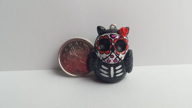 Polymer clay sugar skull owl necklace, day of the dead owl, Día de Muertos, polymer clay owl necklace by ProjectPinkPanda on Etsy